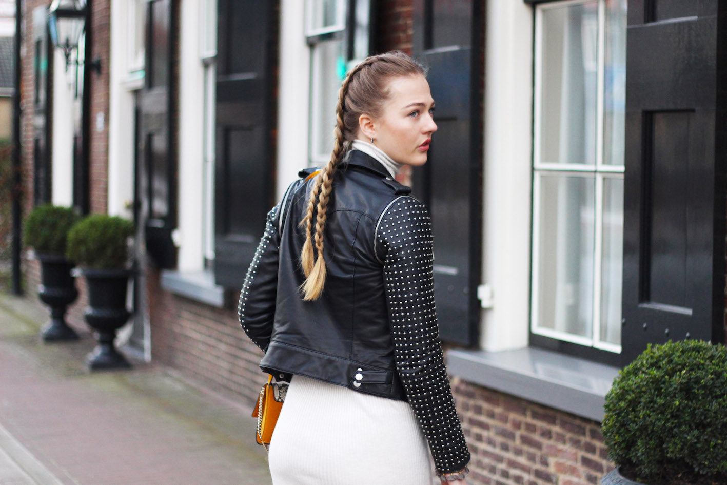 floortjeloves, white sneakers, isabel marant, chloe, chloe bag, chloe faye, braids, dress, leather jacket