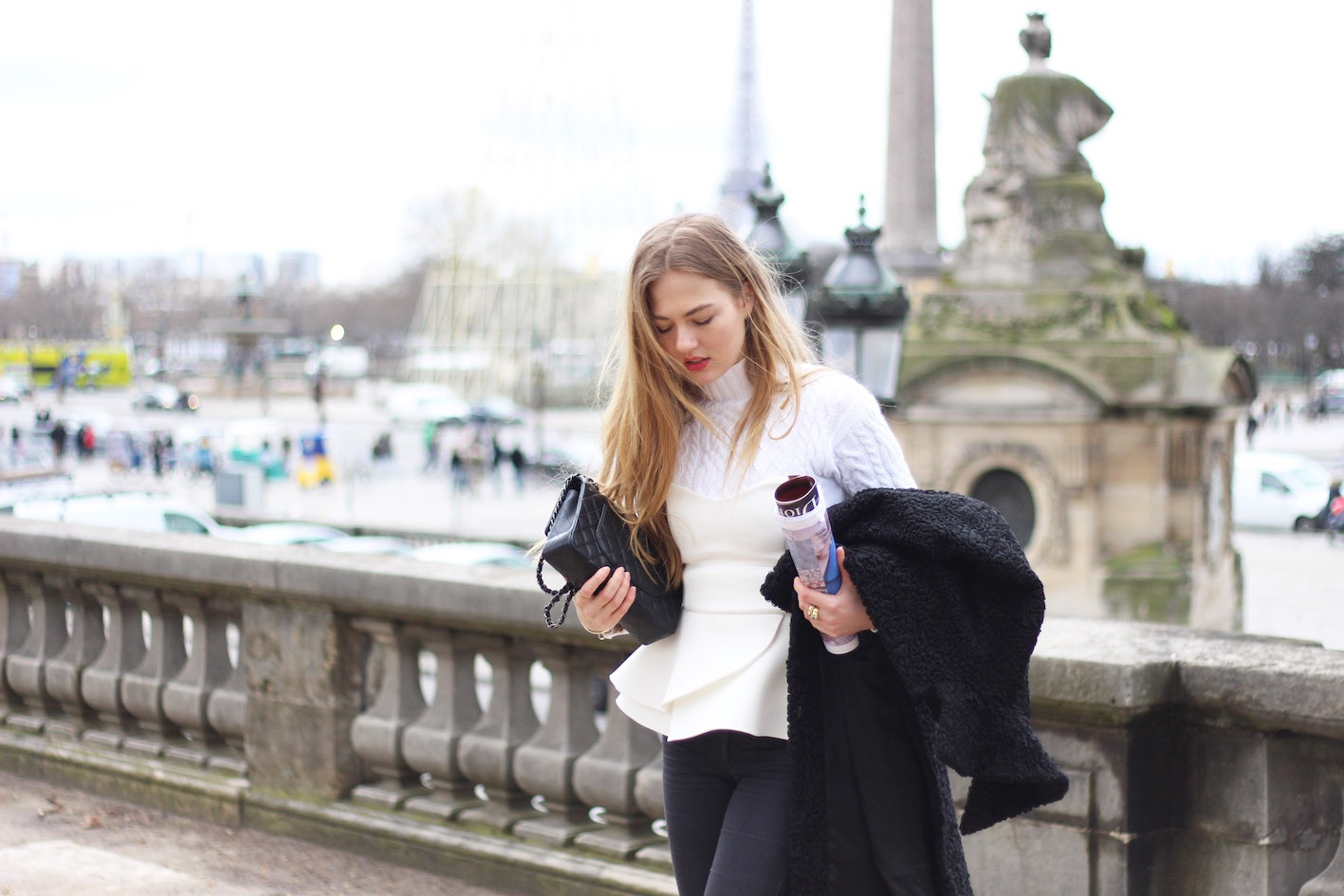 floortjeloves, chanel, chanel bag, sweater, 7 for all mankind, flared jeans, peplum, asos, black coat, issey miyake, pfw, paris, fashion week, paris fashion week