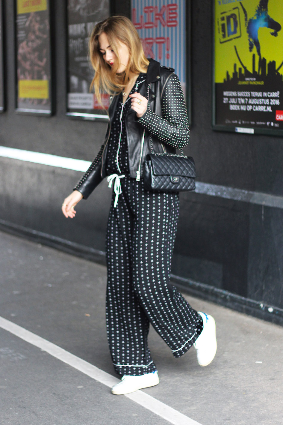 floortjeloves, pajamas, H&M, white sneakers, isabel marant, chanel, chanel bag, chanel classic, beyu, red lips