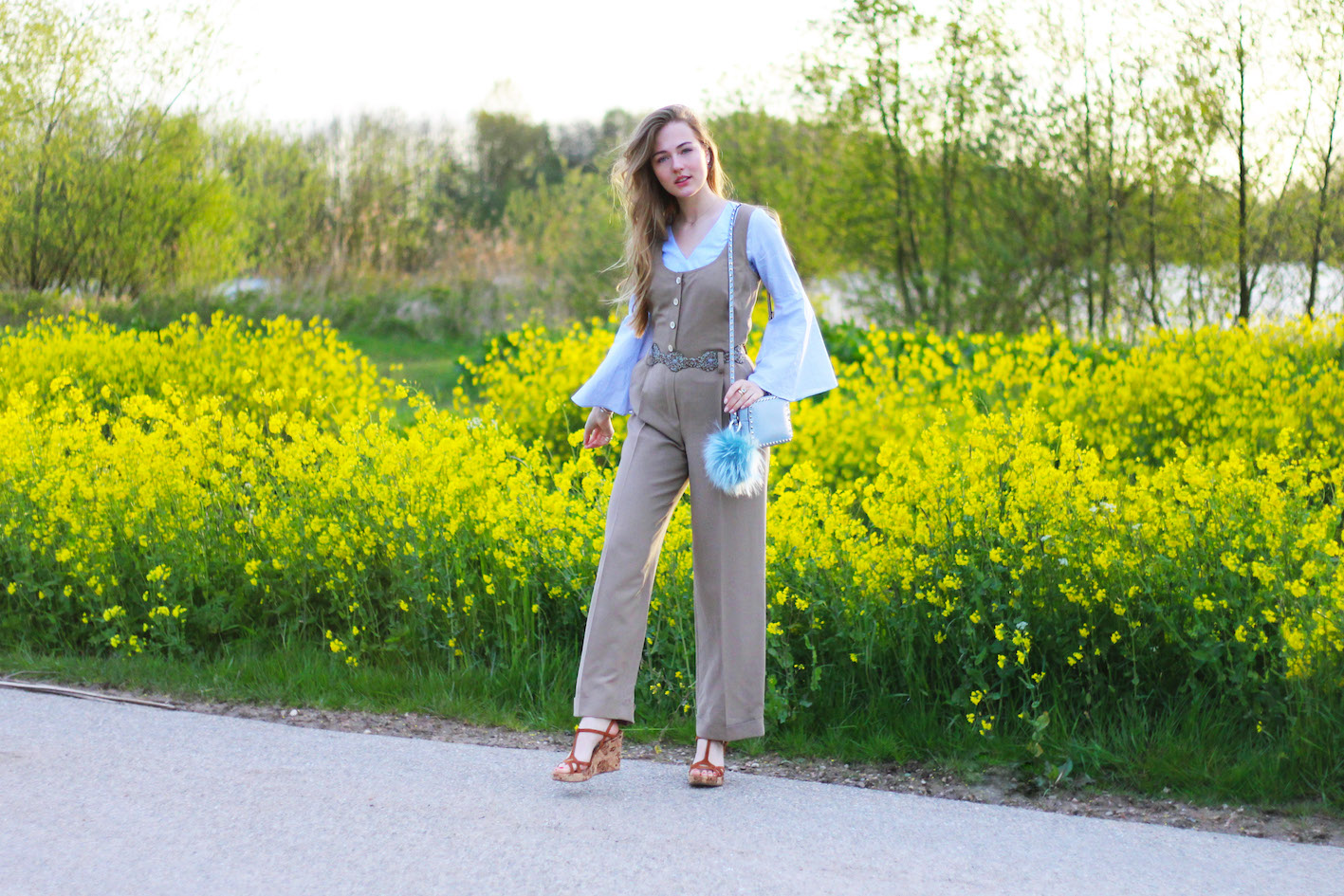 floortjeloves, why you shouldnt be so hard on yourself, jumpsuit, dungarees, joop, flowers, oh by kopenhagen fur, maison valentino, valentino, bag, wedges, zara, flared sleeves, flared