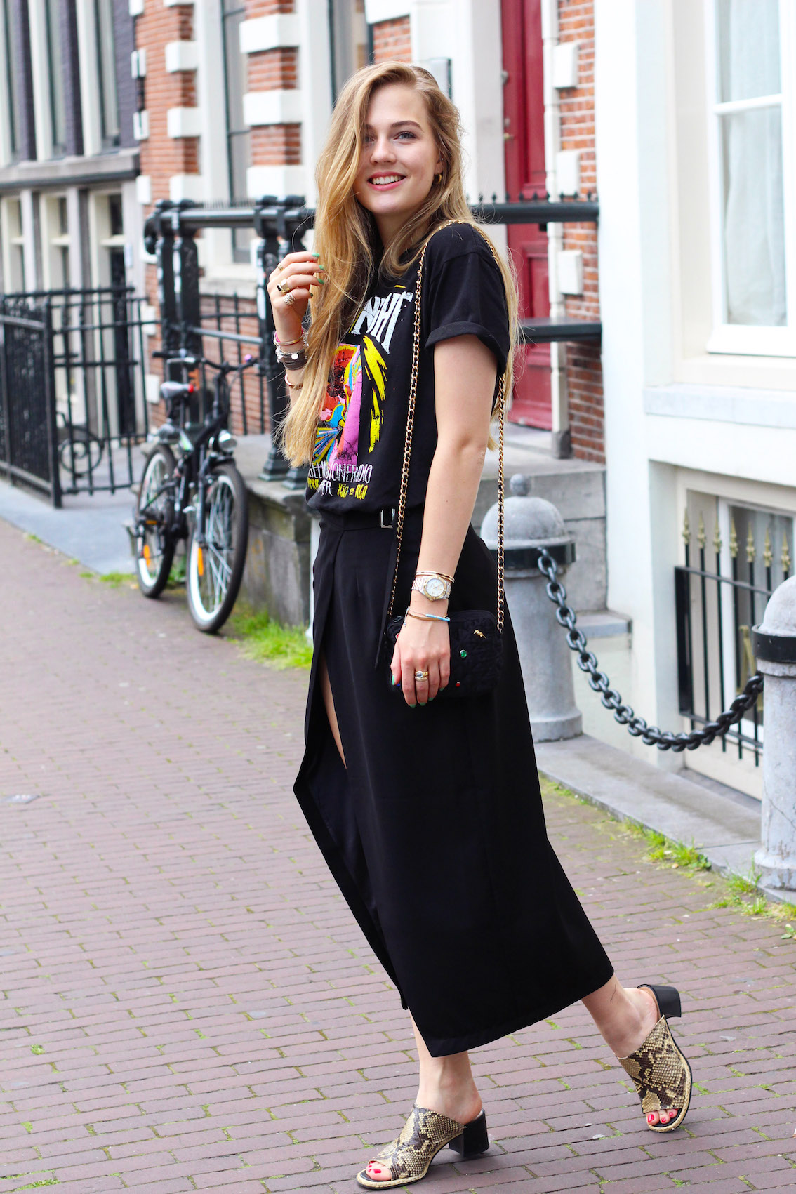 floortjeloves, rocking the rocker shirt, miss guided, vintage, choies, skirt, rock 'n roll, amsterdam, mules, split skirt
