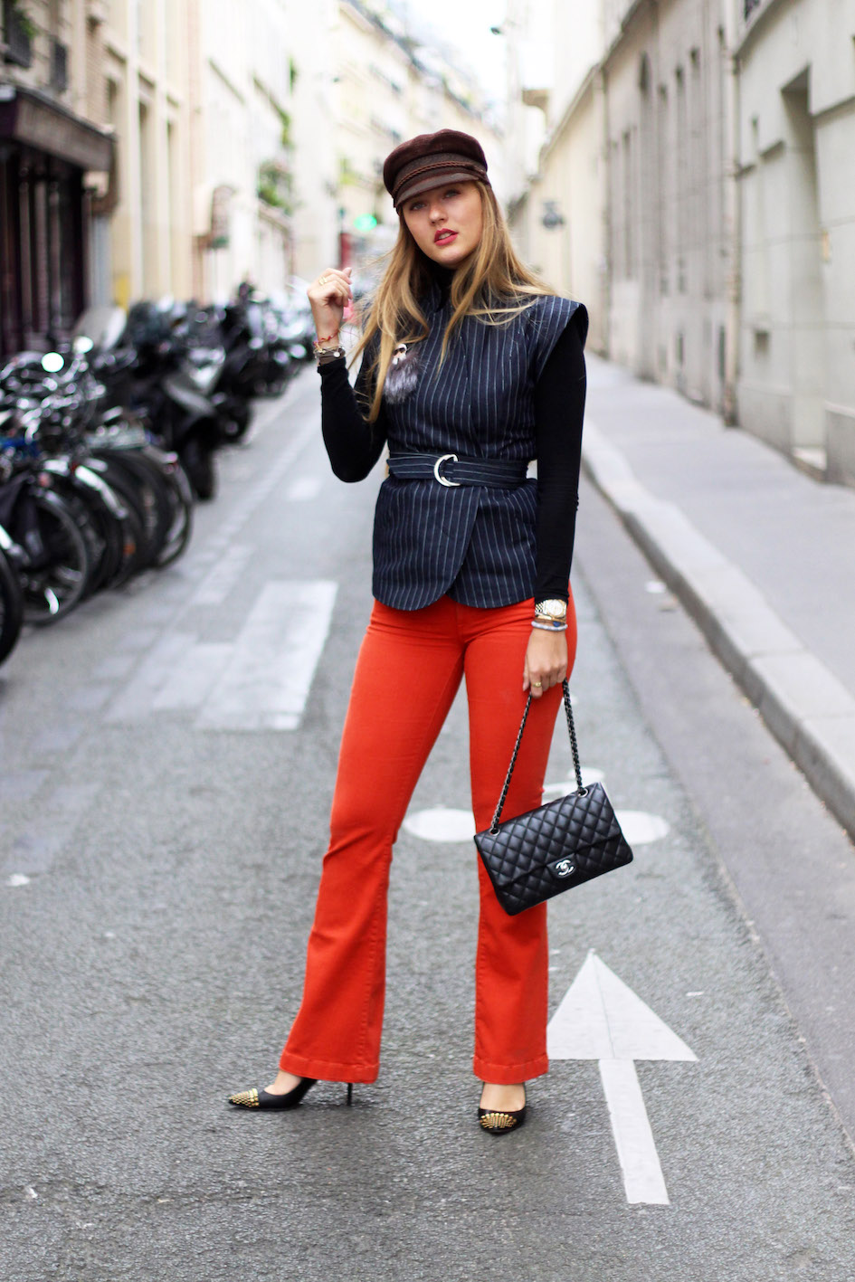 floortjeloves, flared jeans, orange flare, choies, 7fam, 7 for all mankind, gucci, gucci pumps, chanel, chanel classic, cap, paris, paris fashion week, pfw