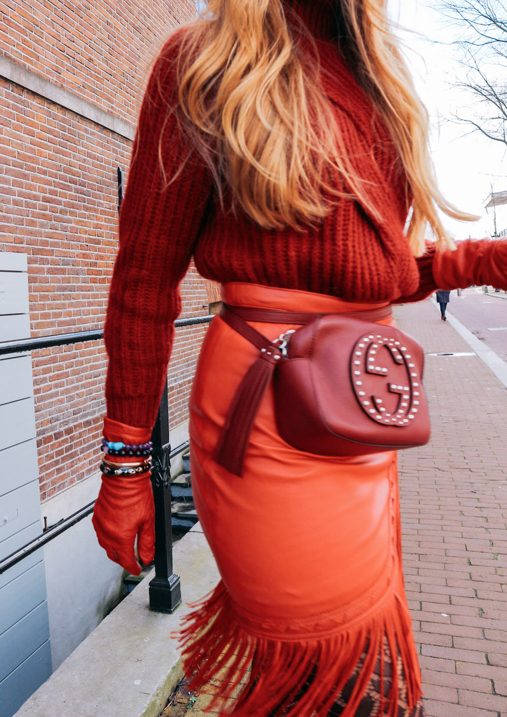 floortjeloves, massimo dutti, maje, gucci, beltbag, fannypack, gloves, leg avenue, printed tights, all red everything, red, tights, airdate