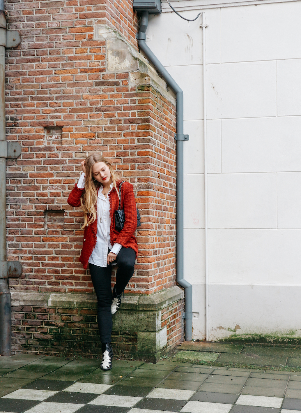 floortjeloves, zara. H&M, wrangler, nubikk, Chanel, Chanel bag, Chanel classic, red lips, valentines day, valentine's day, what to wear, what to wear on your Valentine's Day date, date night outfit