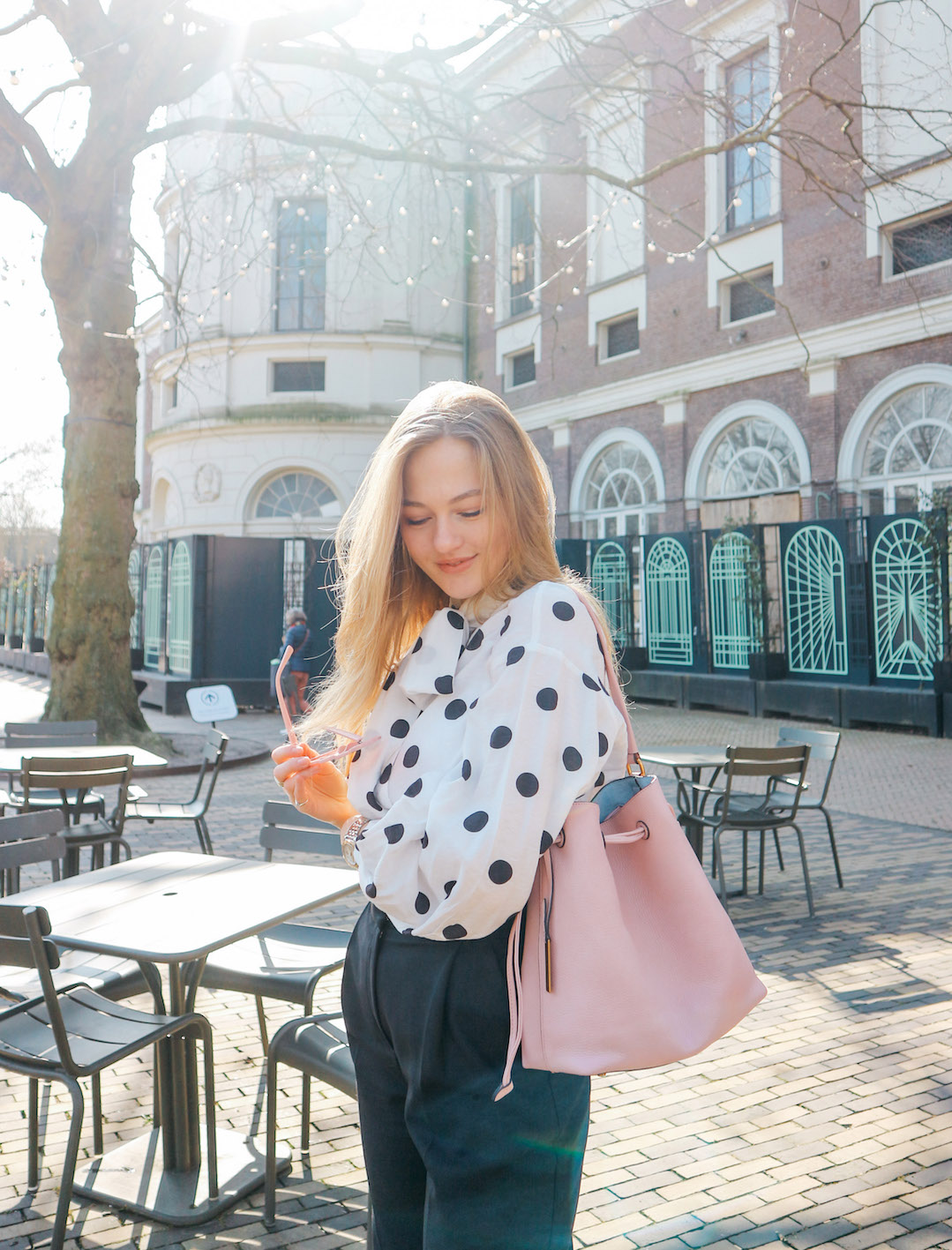 floortjeloves, polka dots, polkadots, easter, polkadots for easter, polka dots for easter, smaak, smaak Amsterdam, AGL, loafers, heart sunglasses, H&M, H&M trousers, H&M blouse