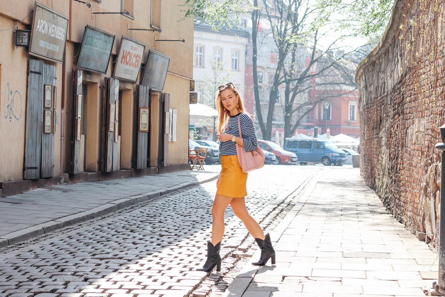 floortjeloves, bonprix, leather skirt, yellow skirt, striped shirt, Krakow, cirytrip, striped top, smaak amsterdam, celine marta, celine sunglasses, bonprix it's me