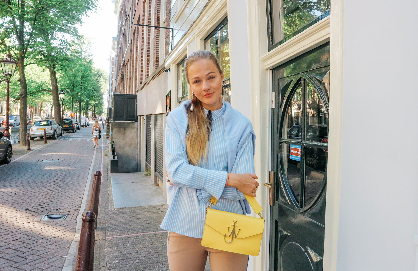 floortjeloves, comma, comma fashion, tod's. tod's sneakers, jw Anderson, j.w. Anderson, j.w. Anderson bag, camel trousers, baby blue shirt