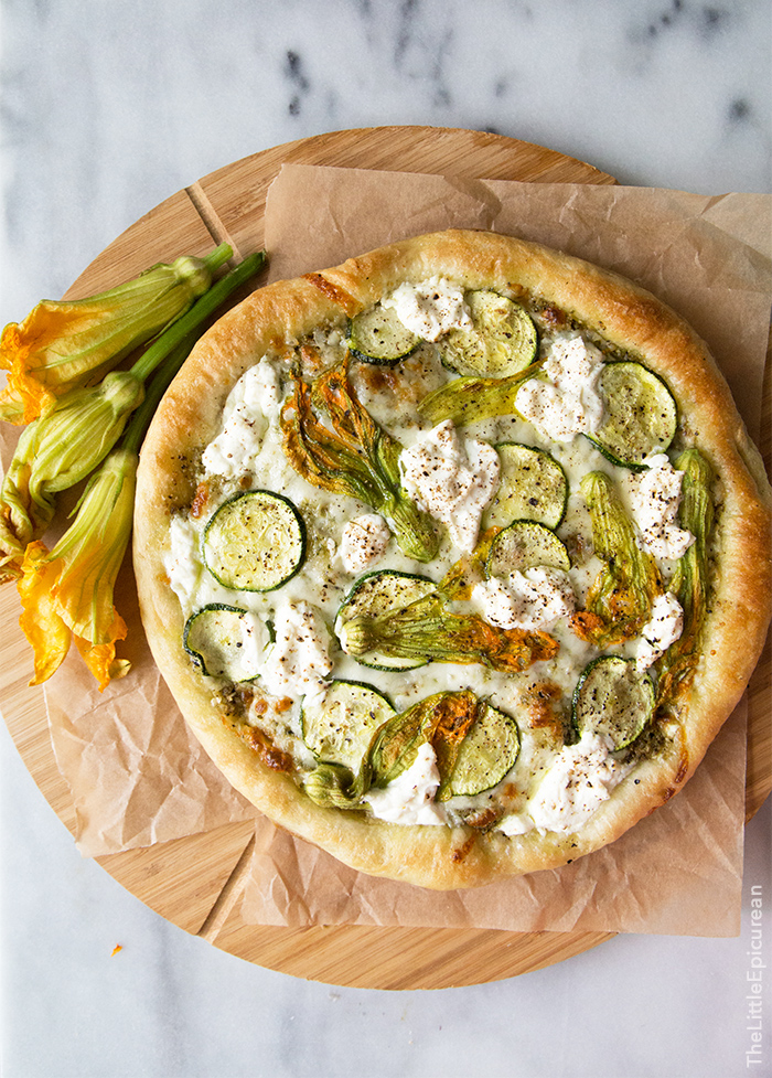 Squash blossom and pesto pizza sustainable