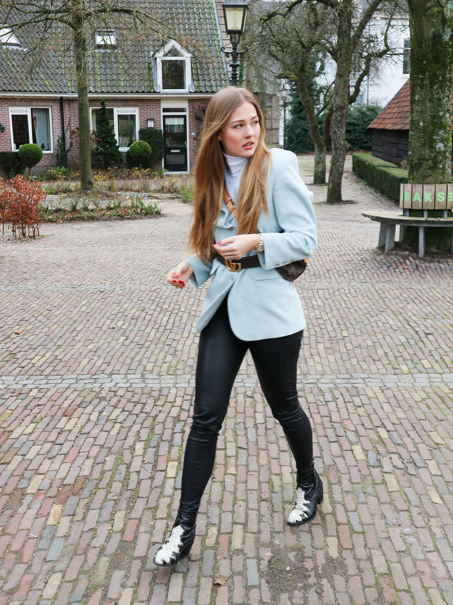 blue blazer, Gucci belt, leather leggings, Louis Vuitton bumbag, Louis Vuitton, nubikk