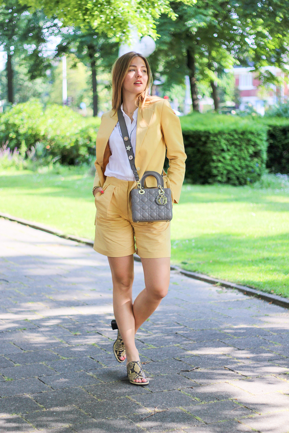 floortjeloves, ARKET, summer suit, suit, yellow suit, linen suit, Dior, lady Dior, lady Dior bag, Dior bag