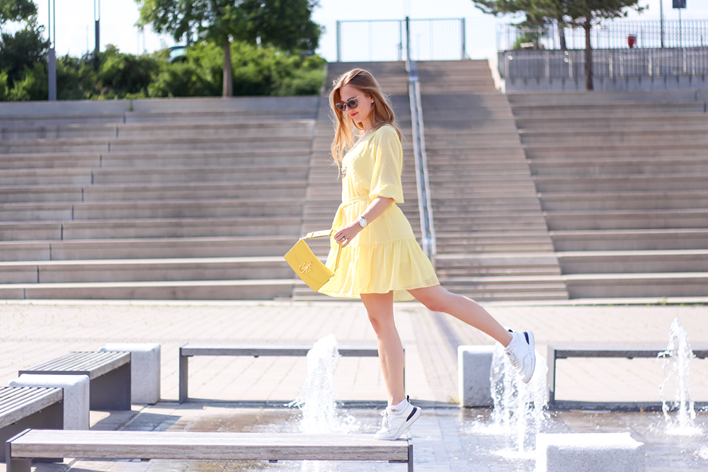 floortjeloves, yellow summer dress, Dante 6, dante6, tod's, tod's sneakers, white sneakers, Kenneth jay lane, jw Anderson, jw Anderson bag, miumiu, Miu Miu