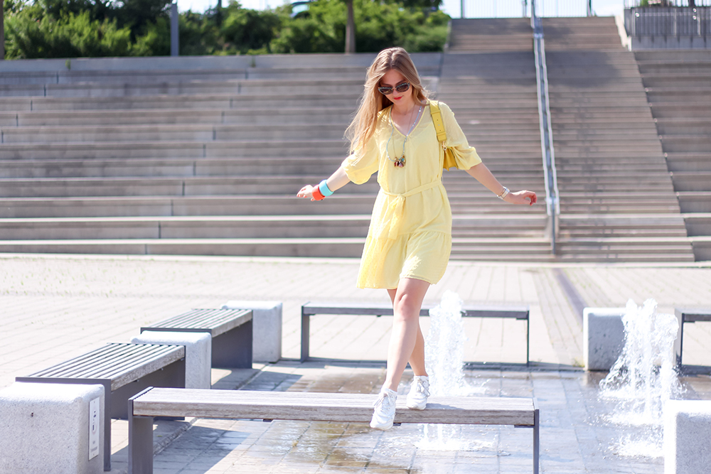 floortjeloves, yellow dress, Dante 6, dante6, tod's, tod's sneakers, white sneakers, Kenneth jay lane, jw Anderson, jw Anderson bag, miumiu, Miu Miu