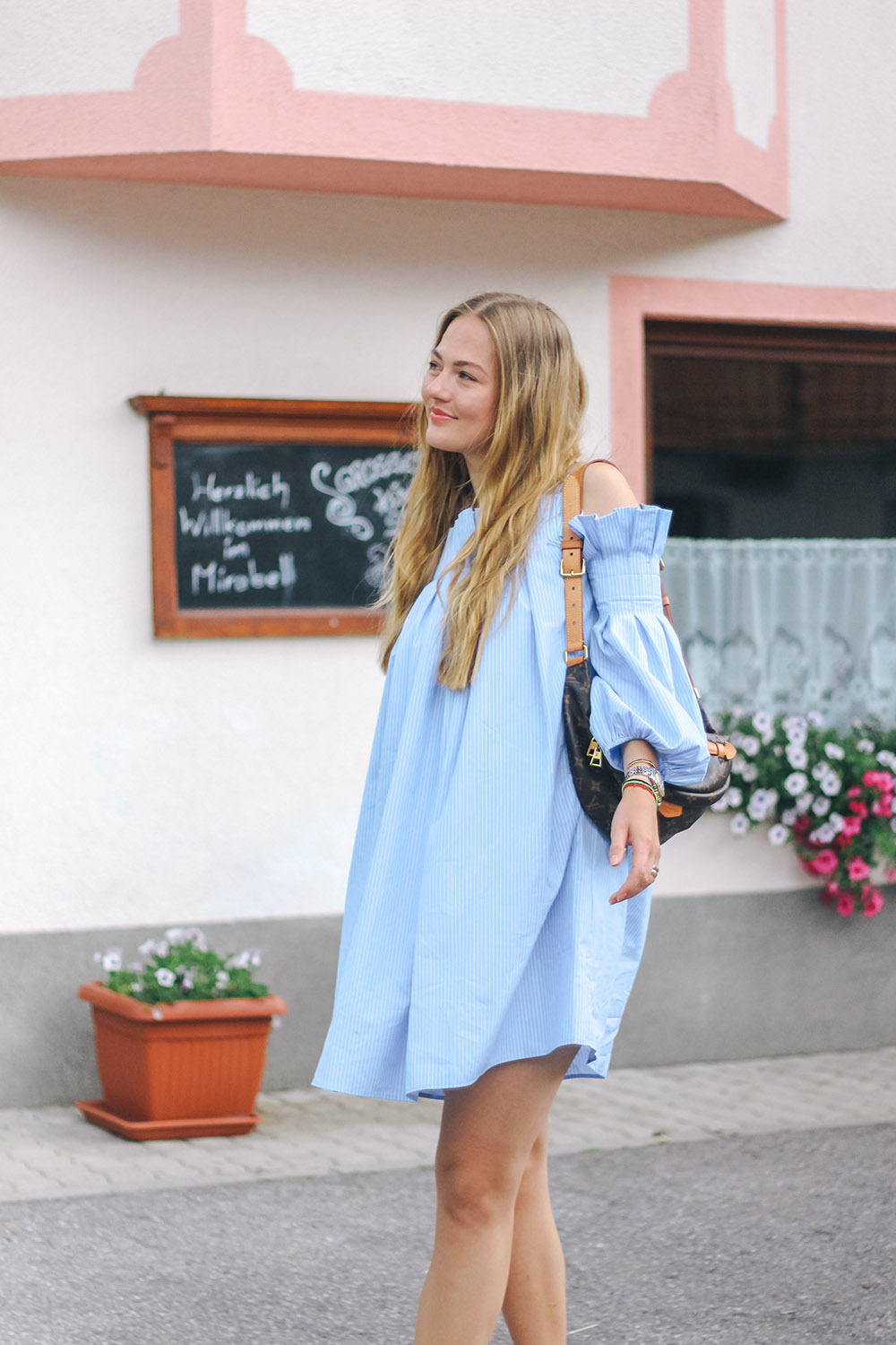 floortjeloves, anne fontaine, fratelli Rosetti, Louis Vuitton, Louis Vuitton bumbag, blue dress, austria, blue striped dress