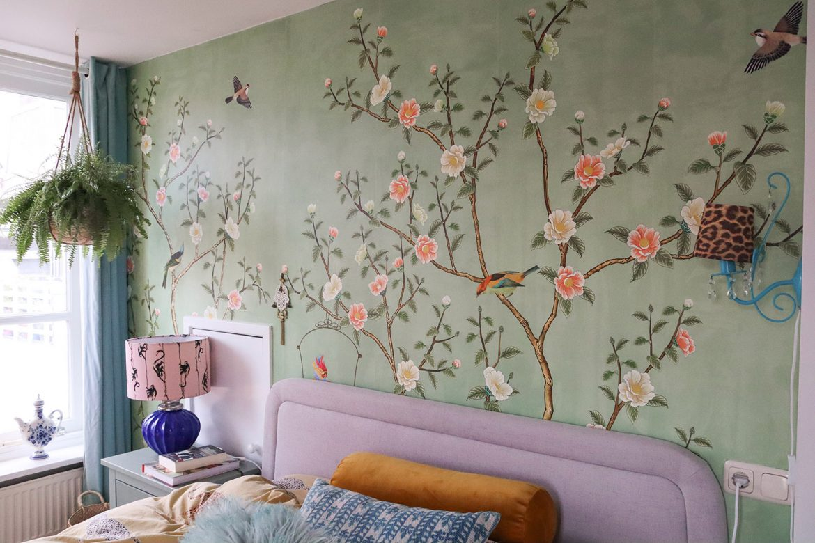 floortjeloves, interior, interior design, wall paper, wall mural, wallpaper, interior makeover, makeover, bedroom, bedroom makeover, green wall, diy, decoration inspiration, decoration, photowall, botanical, botanical print